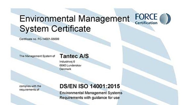Tantec is now ISO 14001-certified!